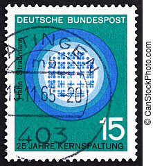 Postage stamp Germany 1964 Nuclear Fission, Hahn and...
