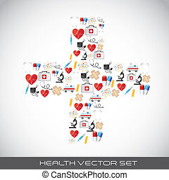 health vector - icons in cross shape over gray background....