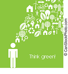 think green - men sign with ecology icons, think green....