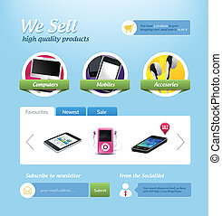 Mini e-commerce website template - Vector mini eshop page....