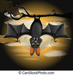 Bat hanging on a branch - illustration of a bat hanging on a...