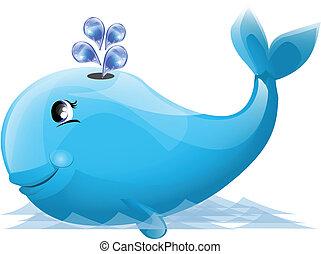 Ilustración, lindo, ballena
