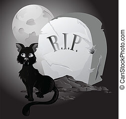 Black an white Halloween Cat on Tombstone
