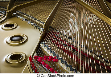 piano chord - detail of a piano string
