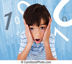 Boy standing while looking scared with numbers surrounding...