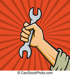 Raised Fist with Wrench - Vector Illustration of a fist...