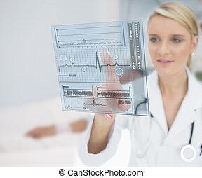 doktor, dotykanie, ecg, interfejs