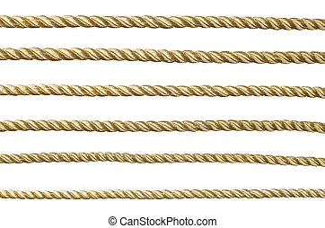 Seamless golden rope isolated on white background for...