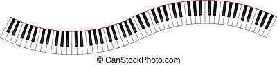 Curved Piano Keyboard Illustration