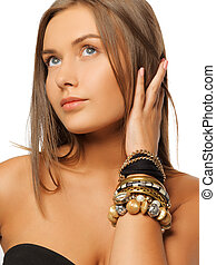 beautiful woman with bracelets - bright picture of beautiful...