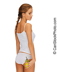 slimming concept - picture of woman in with yellow lemon...