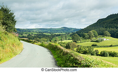 Road leads to distance in Welsh valley - North Wales valley...