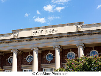 City Hall in Fredericksburg Virginia - City Hall sign and...