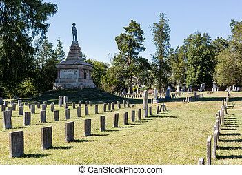 Confederate cemetery in Fredericksburg VA - Headstones in...