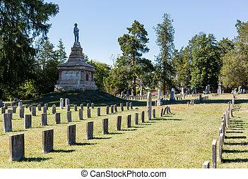 Confederate cemetery in Fredericksburg VA - Headstones in...