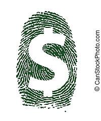 dollar sign fingerprint illustration design over white...