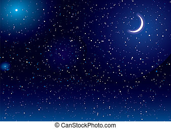 Space scape moon - Space scene with stars and moon ideal...