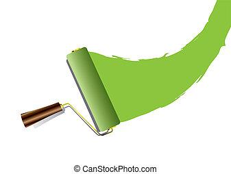 Paint roller swoosh green