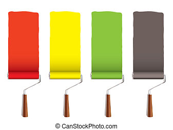 Paint roller stripe - Red yellow greena and silver roller...