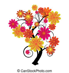 Floral tree - Modern artistic tree with floral elements and...