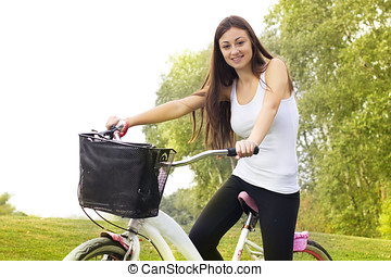 happy girl on the bicycle