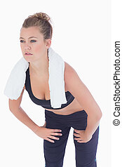 Woman looking strained after work out