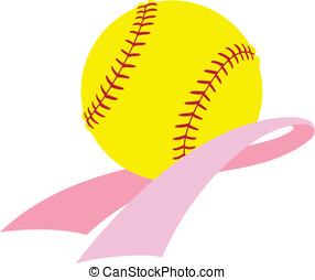 Breast Cancer Awareness Softball - Vector illustration of a...