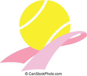 Breast Cancer Awareness Tennis - Vector illustration of a...