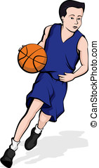 Asian Boy Dribbling A Basketball - Vector illustration of a...