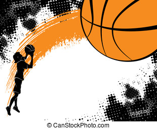 Girl Shooting a Basketball - Basketball background...