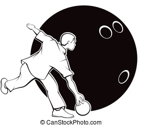 Young Man Bowling with Bowling Ball - Black and white vector...