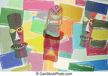 Totem Colorful Cubism Background - Cubism background with...