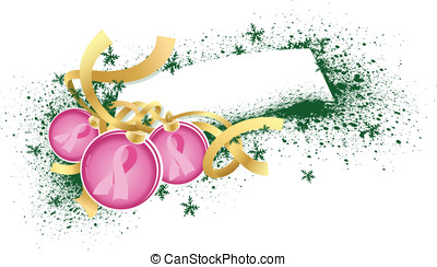 Breast Cancer Christmas Ornaments - Vector illustration of a...