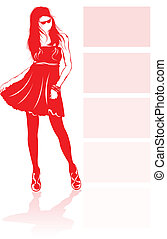 Fashion model. - Fashion model in red silhouette.
