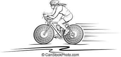 Woman Cyclist - Vector illustration of a woman cyclist.