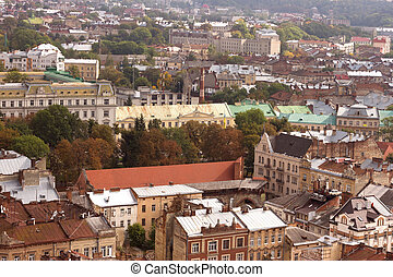 Historical center of Lviv Lvov in western Ukraine Panoramic...