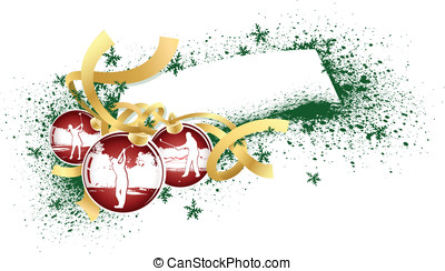 Golf Christmas Ornaments - Vector illustration of red...