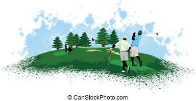 Golfers on a Golf Course - Vector illustration of four...