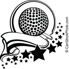 Golf With Pennant and Stars Design - Black and white vector...