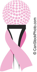 Breast Cancer Golf Design - Vector illustration of a golf...