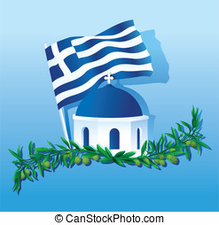 Collage of Greece Flag, dome, Olive - Vector illustration of...