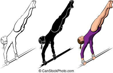 Gymnastics High Bar Routine - Vector illustration of a...