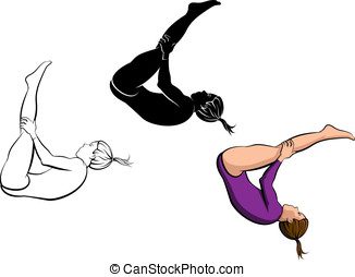 Gymnastics Tumbling - Vector illustration of a gymnast...