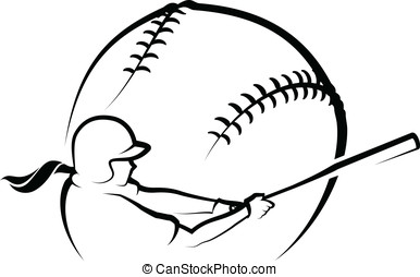 Softball Design 1 - Vector illustration of a softball and...