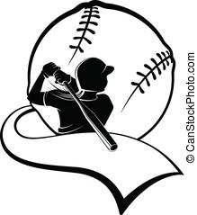 menina, softball, massa, galhardete