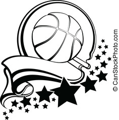 Basketball With Pennant & Stars