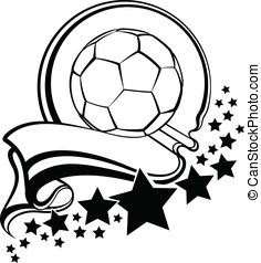 Soccer Ball With Pennant & Star - Black and white vector...