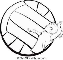 Volleyball Girl - Black and white vector illustration of a...