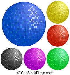 Set of colorful disco balls - Set of disco balls with...