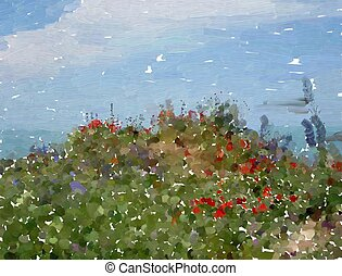 wild flowers - Abstract impressionist style wild flower...